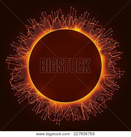 Digital Circle Equalizer. Orange Technology Background With Lines And Waveforms. Glowing Circle Fram