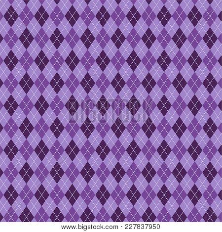 Seamless Tartan Plaid Pattern. Diagonal Check Print In Stripes Of Dark Purple, Light Lavender Purple