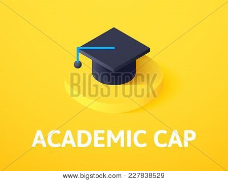 Academic Cap Icon, Vector Symbol In Flat Isometric Style Isolated On Color Background