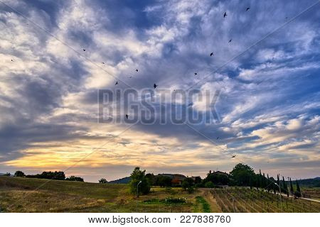 Citta Della Pieve, Perugia, Umbria, Italy: Cloudscape At Evening With Birds