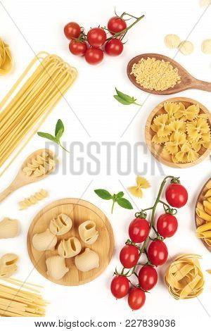 An Overhead Photo Of Different Types Of Pasta, Including Spaghetti, Penne, Fusilli, And Others, With