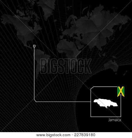 Jamaica On Black World Map. Map And Flag Of Jamaica.
