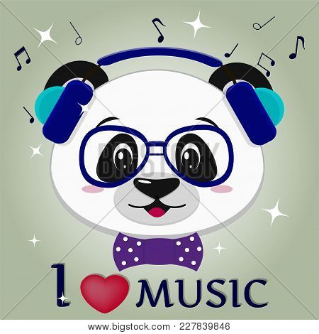 Illustration Of A Cute Panda Musician, Head In Blue Headphones, A Bow Tie And Glasses In Cartoon Sty
