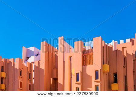 Walls Of La Muralla Roja Building Located In Calpe, Spain