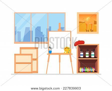 Painter Artist Workshop Room Interior With Window. Include Canvas, Easel, Paints, Brushes, Pictures,