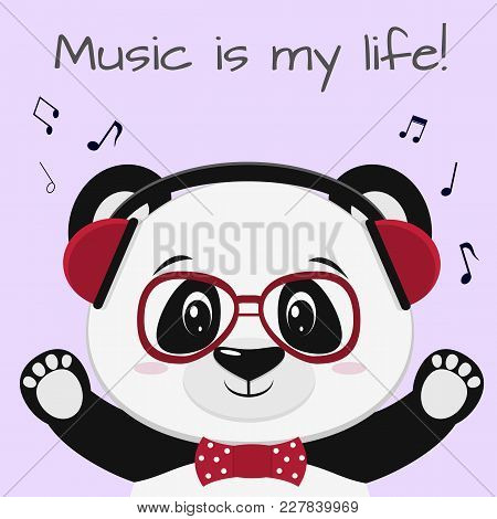 Illustration Of A Cute Panda Musician, Wearing Red Headphones, A Bow Tie And Glasses In Cartoon Styl