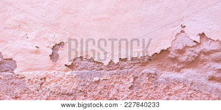 Abstract Wall Banner Background. Pink Old Plastered Wall With Damages, Cracks And Scrapes