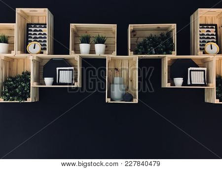 Interior Decoration Of Shelf On The Black Color Wall, A Lot Of Items In Shelf, Modern Style Of Stora