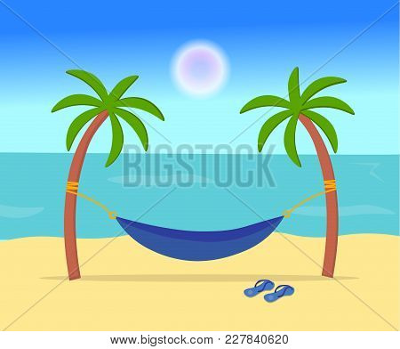 A Hammock Hanging In The Middle Of Two Palms. Coast Of The Sea Or Ocean. Concept Of Summer Holidays.
