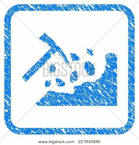 Rock Mining Hammer Rubber Seal Stamp Watermark. Icon Vector Symbol With Grunge Design And Unclean Te