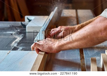 Panel Squaring Saw During Sawing Of An Oak Bar