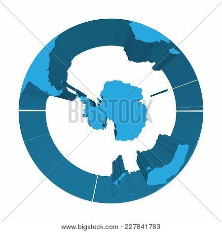 Earth Globe Model With Blue Extruded Lands. Focused On Antarctica And South Pole. 3d Vector Illustra