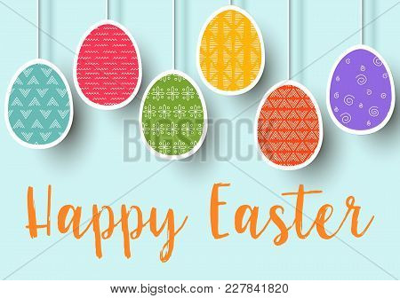 Pending Easter Multicolored Flat Eggs Isolated. Happy Easter. Easter Hanging Eggs With Different Sim