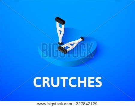 Crutches Icon, Vector Symbol In Flat Isometric Style Isolated On Color Background