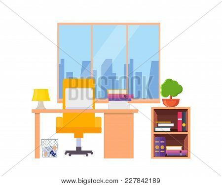 Office Cabinet Interior. Includes Table Laptop, Folders With Documents, Bookshelf And Papers, Trash