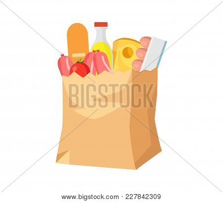 Paper Bag With Food. Groceries In A Paper Bag. Include Sausages, Bread, Cheese, Eggs, Tomatoes, Lemo