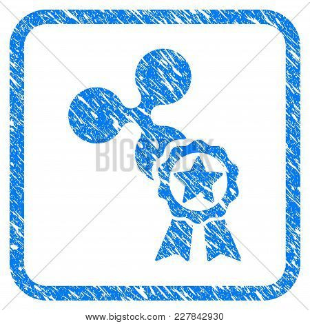 Ripple Star Award Rubber Seal Stamp Watermark. Icon Vector Symbol With Grunge Design And Dust Textur