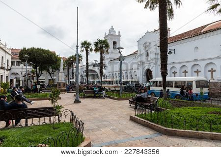 Sucre, Boliwia - February 08, 2018: San Francisco Church In Sucre, Bolivia. Sucre Is The Constitutio