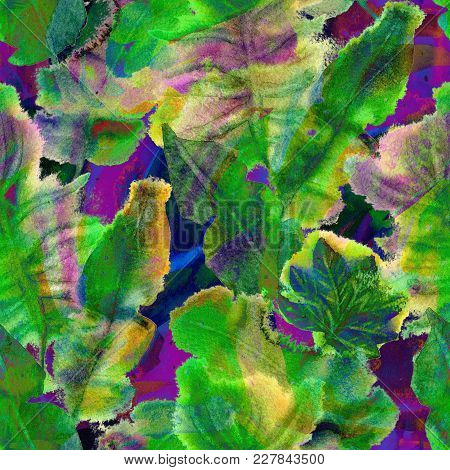 Creative Watercolor Pattern. Geometric Seamless Texture. Artistic Abstract Floral Brushstrokes Tiles