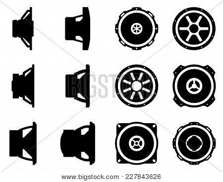 Audio Equipment Vector Icon Set. Speaker Drivers For Car