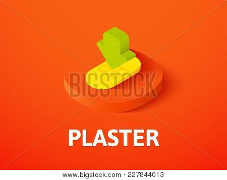 Plaster Icon, Vector Symbol In Flat Isometric Style Isolated On Color Background