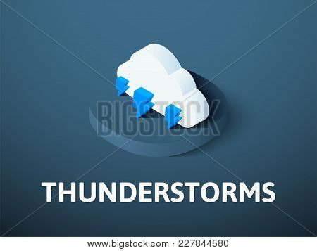 Thunderstorms Icon, Vector Symbol In Flat Isometric Style Isolated On Color Background