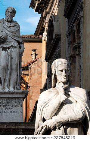 Close-up Of The Dante Alighieri Statue In Piazza Dei Signori In Verona (unesco World Heritage Site)