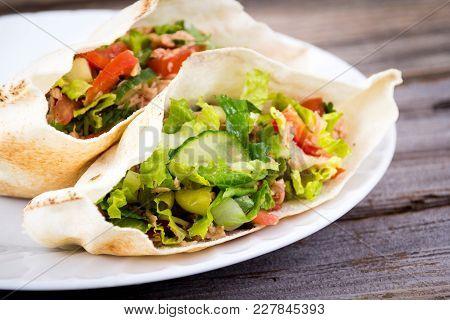Tuna Fish Salad Pita Sandwich Closeup Dish
