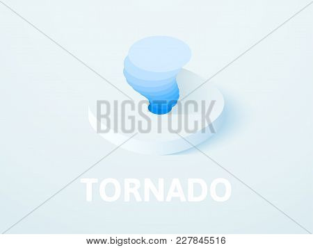 Tornado Icon, Vector Symbol In Flat Isometric Style Isolated On Color Background