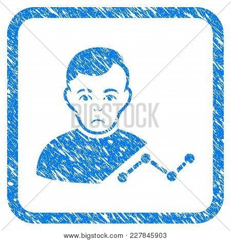 User Chart Rubber Seal Stamp Imitation. Icon Vector Symbol With Grunge Design And Unclean Texture In
