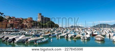 The Port Of Lerici, Typical Seaside Town In Liguria In The Golfo Dei Poeti (gulf Of Poets Or Gulf Of