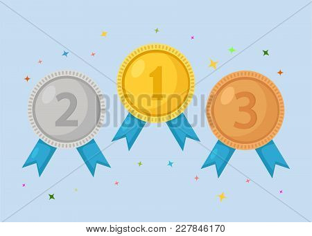 Three Vector Medals Gold, Silver And Bronze
