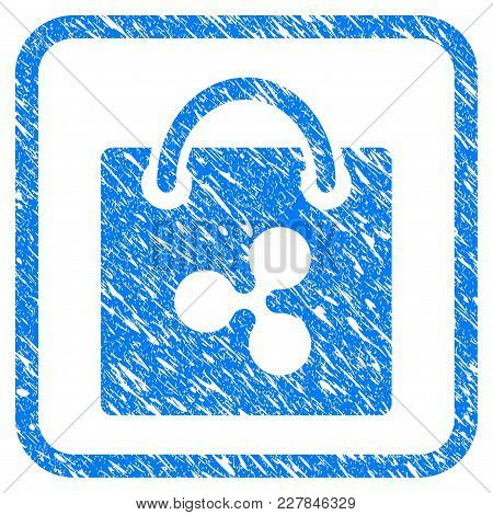 Ripple Shopping Bag Rubber Seal Stamp Imitation. Icon Vector Symbol With Grunge Design And Corrosion