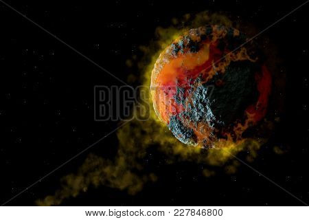 Volcanic Planet Cataclysm. Science Fiction Space 3d Illustration.