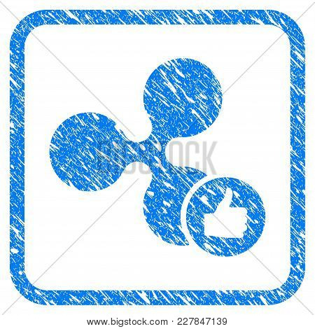 Ripple Thumb Up Rubber Seal Stamp Imitation. Icon Vector Symbol With Grunge Design And Unclean Textu
