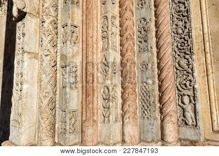 Detail Of The Decoration Of The Portal Of The Verona Cathedral (duomo Di Verona) In Romanesque Renai