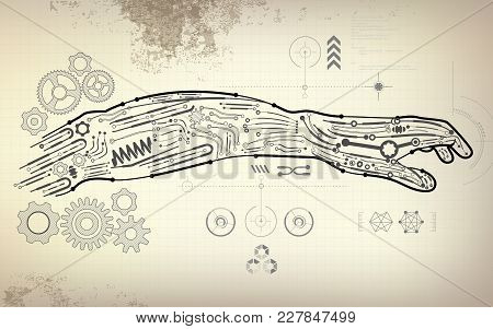 Robotic Hand With Vintage Blueprint, Concept Of Robot Technology