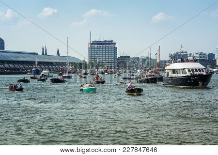 Amsterdam, Netherlands, 20 August 2015: Sail Amsterdam 2015 Is An Immense Flotilla Of Tall Ships, Ma