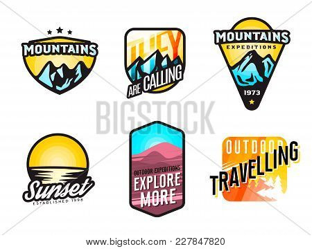 Set Of Mountain Themed Modern Logos And Badges. Mountain Expedition Labels Concept. Perfect For Clot
