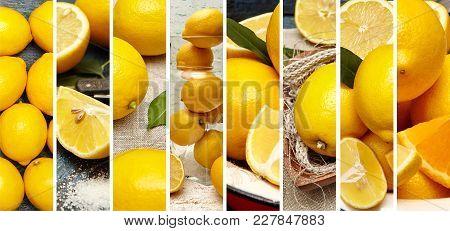 Food Collage Of Eight Fresh Lemon Photo.