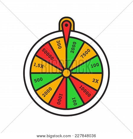 Wheel Of Fortune Color Icon. Roulette. Lucky Wheel. Isolated Vector Illustration