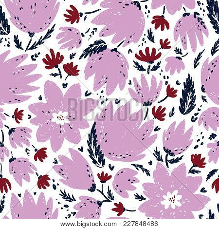 Seamless Floral Vector Pattern. Stylized Hand Drawn Illustration Of Flowers And Blooms. Ready To Pri