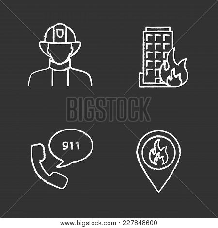Firefighting Chalk Icons Set. Firefighter, Fire Location, Burning House, Emergency Call. Isolated Ve