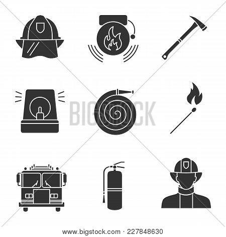 Firefighting Glyph Icons Set. Hard Hat, Alarm Bell, Fireman Siren, Burning Matchstick, Axe, Hose, Fi