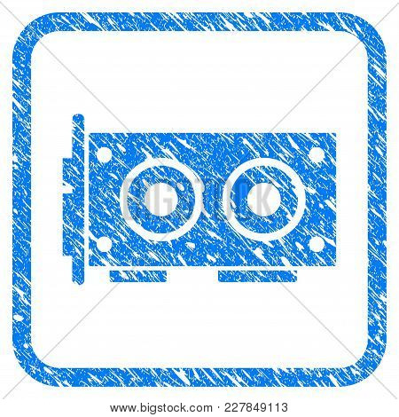 Video Graphics Card Rubber Seal Stamp Imitation. Icon Vector Symbol With Grunge Design And Corrosion