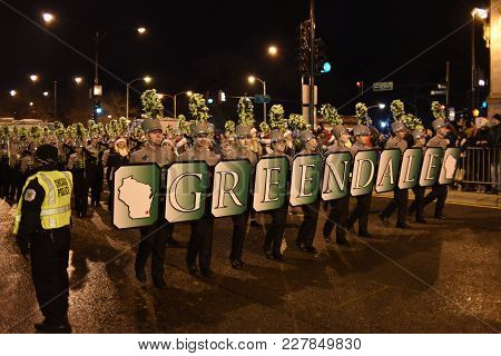 Festival Of Lights Parade, Greendale Marching Band, Michigan Avenue, Chicago, Il November 18th, 2017