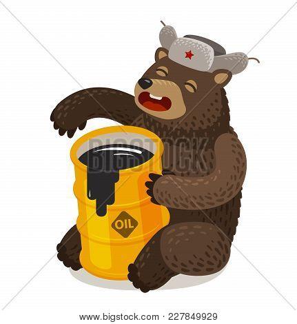 Funny Russian Bear With Barrel Of Oil. Cartoon Vector