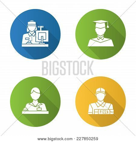 Professions Flat Design Long Shadow Glyph Icon. Occupations. Receptionist, Secretary, Cashier, Pizza