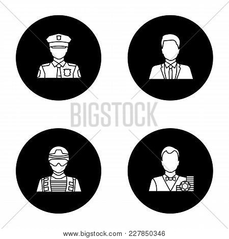 Professions Glyph Icons Set. Occupations. Policeman, Soldier, Croupier, Office Worker. Vector White