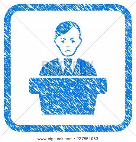 Speaker Gentleman Rubber Seal Stamp Watermark. Icon Vector Symbol With Grunge Design And Dust Textur